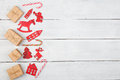 Vintage Christmas Decoration On Wooden Table - Xmas Tree, Houses Royalty Free Stock Images - 63356619