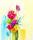Oil Painting Still Life Of Bouquet,yellow,red Color Flora.Gerbera,tulip,rose,green Leaf In Vase. Stock Photography - 63381162