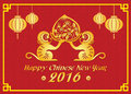 Happy Chinese New Year 2016 Card Is  Lanterns , 2 Gold Monkey Holding Peach Stock Photo - 63382430