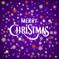 Hand Painted Brush Lettering  We Wish You A Merry Christmas . White Snowflakes On Violet And Pink Blurred Background. Royalty Free Stock Photo - 63383995