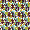 Winter Snow Color Forest And Wild Animals Seamless Pattern. Stock Photography - 63386562