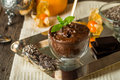 Chocolate Chia Seed Pudding In Glass Bow Royalty Free Stock Image - 63396246
