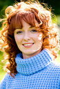 Bright Portrait Of Red-haired Young Woman Outdoors Stock Photo - 6344720