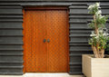 Modern Architectural Entrance Wooden Doors Royalty Free Stock Photography - 63402227