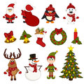 Christmas Seamless Pattern With Santa, Penguin, Deer, Bear, Snowman, Elf Stock Photography - 63404502
