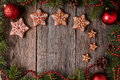 Gingerbread Star Cookies Christmas Composition In Stock Images - 63405544