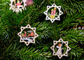 Handmade Carved Wooden Christmas Decorations On A Tree At The Ch Royalty Free Stock Photos - 63422698