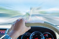 Hand Of Driver Holding Steering Wheel, Driving Fast Speed Motion Royalty Free Stock Photo - 63433615