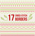 Cross-stitch Embroidery - Set Of Borders Stock Image - 63436381