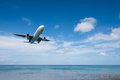 Airplane Landing From Sea To Airport Royalty Free Stock Photos - 63439248