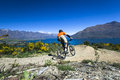 Mountain Bike Rider On Bike Path In Queenstown Stock Images - 63449124
