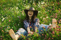 Happy American Woman In Wild Flowers Stock Images - 63455154