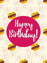 Happy Birthday Card With Cake Stock Photography - 63458632