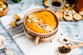 Pumpkin Soup With Carrots And Homemade Croutons In Clay Pots, Ru Stock Photography - 63463282