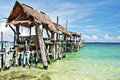 Wooden Jetty In Tropical Beach Of Ko Samet Island Royalty Free Stock Photography - 63469857