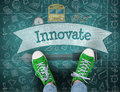 Innovate Against Green Chalkboard Royalty Free Stock Images - 63473129
