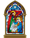 Christmas Stained Glass Window In Gothic Frame Stock Photography - 63485342