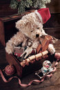 Vintage Christmas  Toys For Boys In Old Treasure Chest Stock Image - 63493121