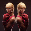 Young Sexy Girl Over Black Background With Boxing Gloves Royalty Free Stock Photo - 63496875