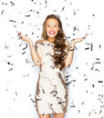 Happy Young Woman Or Teen Girl In Fancy Dress Royalty Free Stock Photo - 63507715