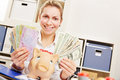 Woman With Euro And Dollar Money In Office Stock Photos - 63516823