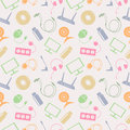 Seamless Technology Vector Pattern, Chaotic Background With Colorful Icons Of PC, Monitor, Headphones, Disc, Router, Socket, Batte Royalty Free Stock Photography - 63518777