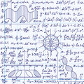 Math Vector Seamless Pattern With Science Drawings, Tasks Solutions, Plots, Figures, Formulas, Handwritten On A Copybook Paper Stock Photos - 63520533