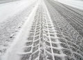 Tire Tracks On A Snow Royalty Free Stock Images - 63521049