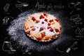 Apple Pie With Cranberry And Drawing Recipe On Black Table Royalty Free Stock Photo - 63522415
