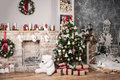 Christmas Tree And Fire-place Royalty Free Stock Photo - 63523735