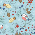 Vector Seamless Pattern, Doodling Winter Design. Hand Draw Birds Over The Forest. Winter Season Cute Illustration. Royalty Free Stock Photo - 63541485