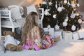 Girl Near Christmas Tree With Presents And Toys, Boxes, Christmas, New Year, Lifestyle, Holiday, Vacation, Waiting For Santa Stock Photo - 63558800