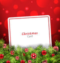 Christmas Card With Fir Twigs And Glass Balls Stock Photo - 63564990