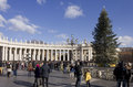 Piazza San Pietro In Rome, With Its Obelisk And A Christmas Tree Royalty Free Stock Image - 63568556