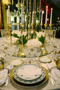 Event - White And Golden Table Decoration, White Flowers Stock Images - 63574204