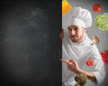 Chef With Blackboard Royalty Free Stock Photography - 63576977