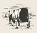 Old Wagon In Wild West Prairies Royalty Free Stock Image - 63583416