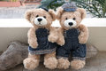 Two Teddy Bears On Wood Background Stock Images - 63588234
