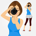Young Photographer Woman Taking Photos Royalty Free Stock Image - 63591786