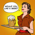 The Waitress Beer On A Tray Stock Image - 63595091