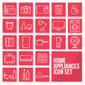 Home Appliances Simple Thin Line Icons Set Vector Royalty Free Stock Photo - 63598055