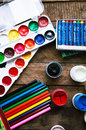 Art Of Painting. Paint Buckets On Wood Background. Different Paint Colors Painting On Wooden Background. Painting Set: Brushes, Pa Stock Images - 63598194