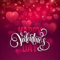 Happy Valentines Day Handwritten Text On Blurred Royalty Free Stock Image - 63598266
