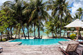 View From The Pool To The Beach At The Bahamas Royalty Free Stock Image - 63604226