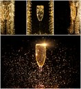 Glasses Of Champagne Collage Stock Images - 63612884