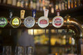 Beer Taps Close Up In Pub Royalty Free Stock Photography - 63615367