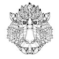 Zentangle  Monkey Head Doodle. Hand Drawn Vector. Royalty Free Stock Image - 63619456