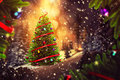 Christmas Tree In The Evening Stock Photo - 63633690