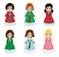 Collection Of Christmas Angels  On White Background . Royalty Free Stock Images - 63642569