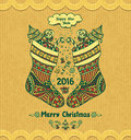 Christmas Stocks With Gift  In Zen-doodle Style Grunge Beige Background Royalty Free Stock Images - 63661709